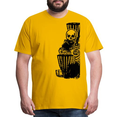 Disc Golf Until Death Black Print Skeleton Shirt - Men's Premium T-Shirt