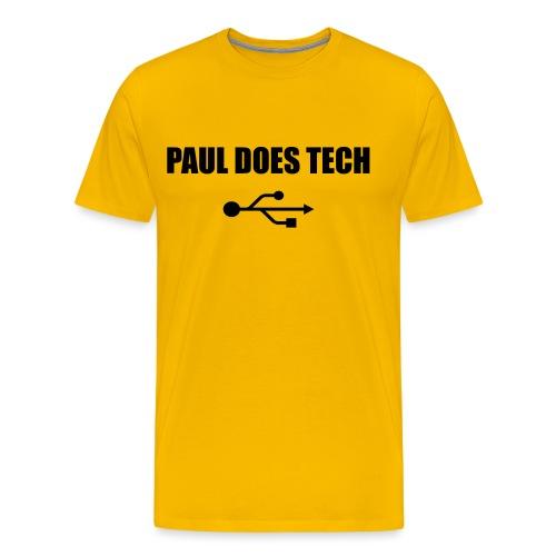 Paul Does Tech Logo Black with USB - Men's Premium T-Shirt