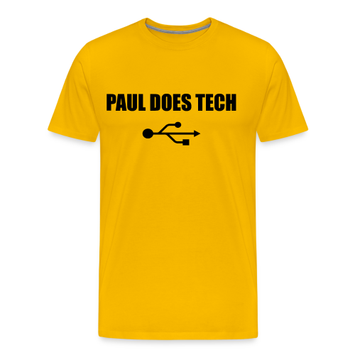 Paul Does Tech Logo Black with USB - Men's Premium T-Shirt