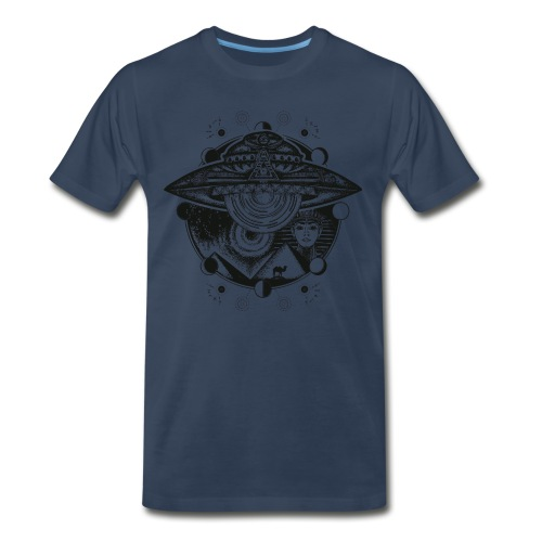 Egyptian Pharaoh Pyramid Alien UFO - Men's Premium T-Shirt
