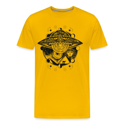 Egyptian Pharaoh Pyramid Alien UFO - Men's Premium T-Shirt