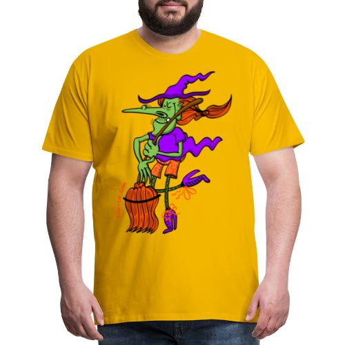 Crazy Witch Dancing with her Broomstick - Men's Premium T-Shirt