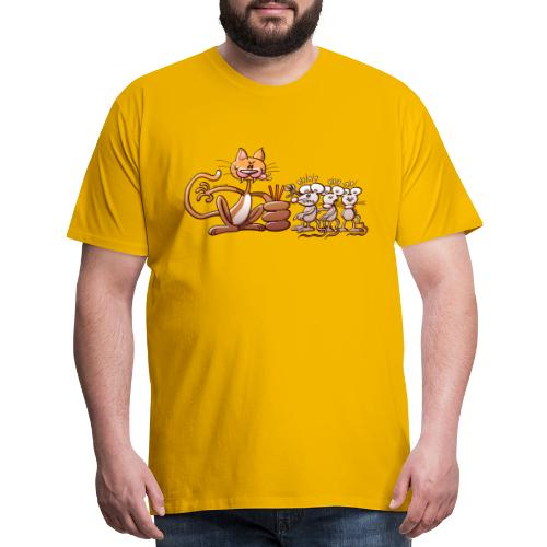 Cat Choosing a Mouse by Drawing the Short Straw - Men's Premium T-Shirt