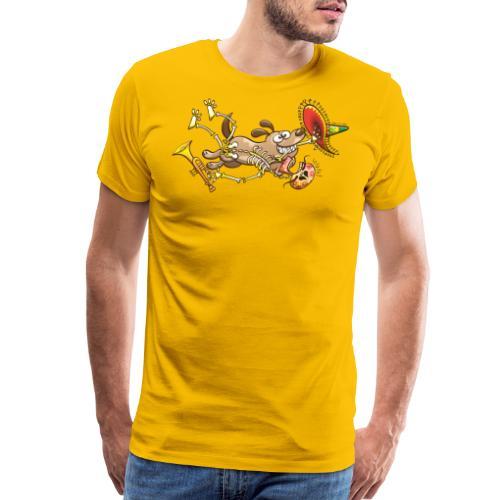 Mischievous Dog Stealing Mexican Skeleton - Men's Premium T-Shirt