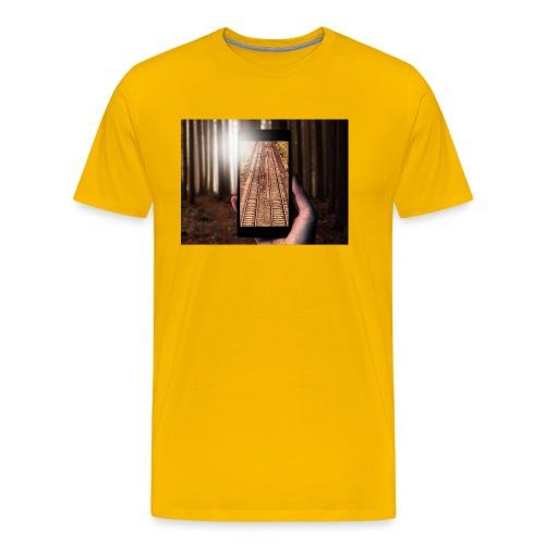 Rail train in forest - Men's Premium T-Shirt