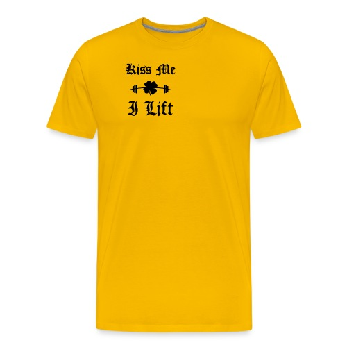 Kiss Me I Lift (old english, black) - Men's Premium T-Shirt