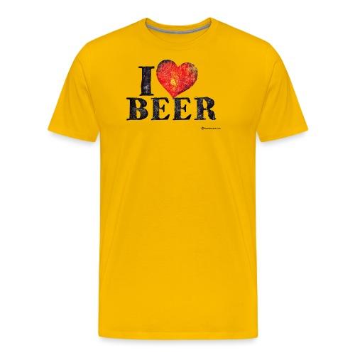 I Love Beer Distressed - Men's Premium T-Shirt