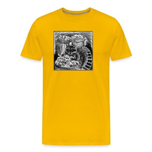 Raccoon Linocut - Men's Premium T-Shirt