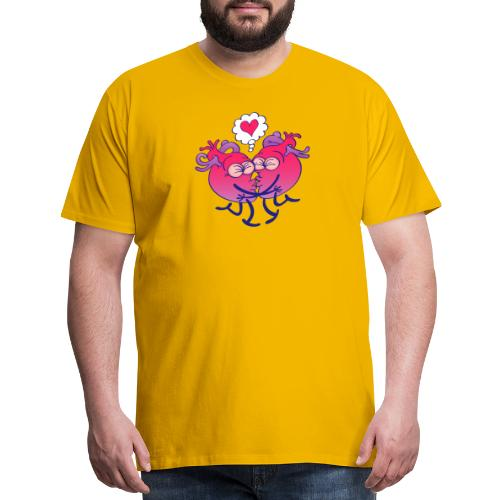 Couple of hearts in love kissing passionately - Men's Premium T-Shirt
