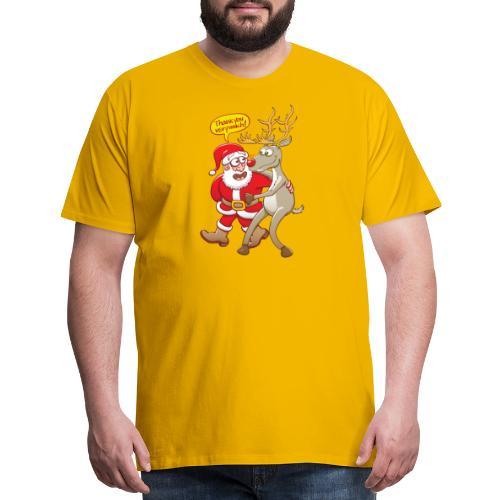 Santa Claus deeply thanks his red-nosed reindeer - Men's Premium T-Shirt