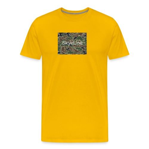 SkyeLine Green Camo and White Box Logo - Men's Premium T-Shirt