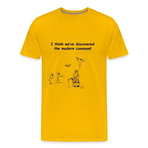 Aliens Discover Caveman - Men's Premium T-Shirt