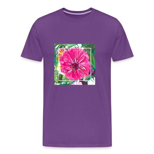 Pink Zinnia Watercolor - Men's Premium T-Shirt