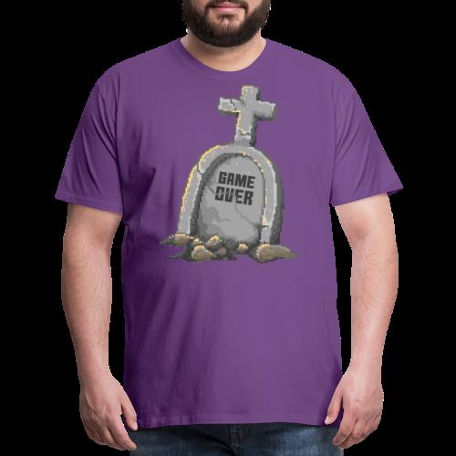Game Over | Pixel Art Tombstone - Men's Premium T-Shirt