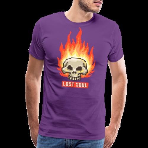 Burning Skull Lost Soul | Pixel Art - Men's Premium T-Shirt