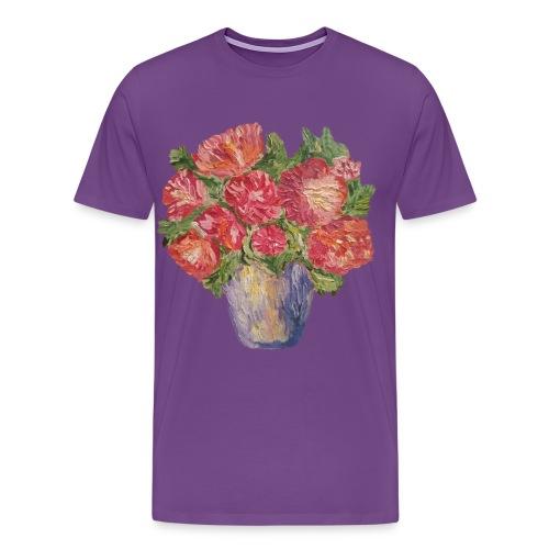 flowers, peonies, roses, vase, bouquet, freshness - Men's Premium T-Shirt