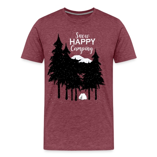 Snow Happy Camping in Mountain Forest Trees - Men's Premium T-Shirt