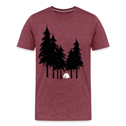 Snow Camping in Forest Trees | Black & White - Men's Premium T-Shirt