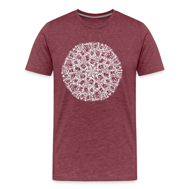 Mandala Circle of Skulls - White Ink