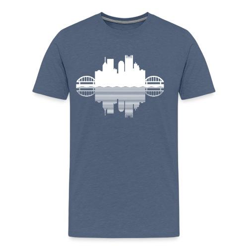 Pittsburgh Skyline Reflection - Men's Premium T-Shirt