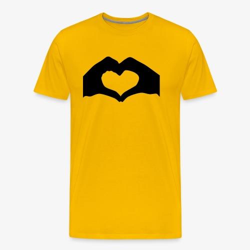 Silhouette Heart Hands | Mousepad - Men's Premium T-Shirt