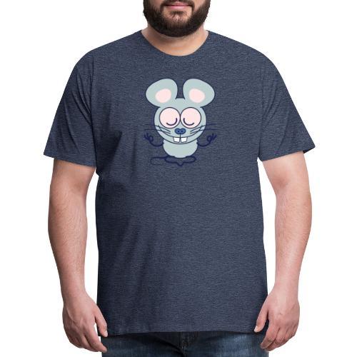Gray mouse peacefully meditating in lotus pose - Men's Premium T-Shirt