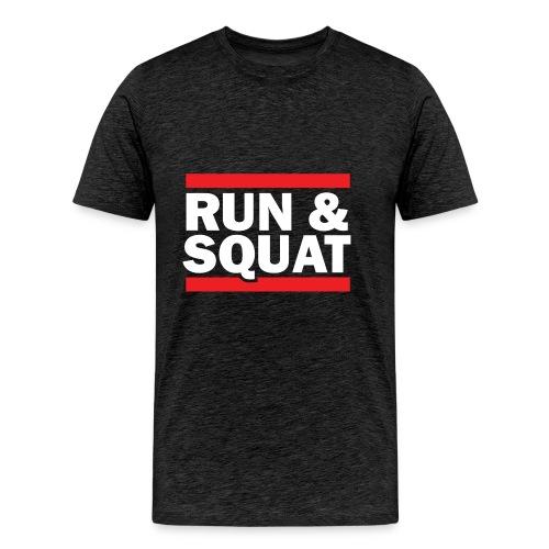 Run Squat White on Dark by Epic Greetings - Men's Premium T-Shirt