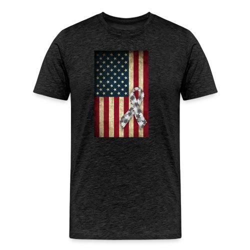 Autism Awareness American Flag Autism Ribbon - Men's Premium T-Shirt