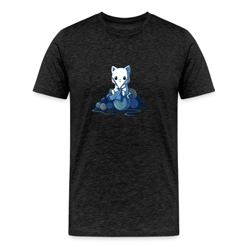 cat love knitting tshirt - Men's Premium T-Shirt