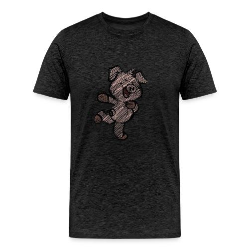 pig funny hearts love animals and pets - Men's Premium T-Shirt