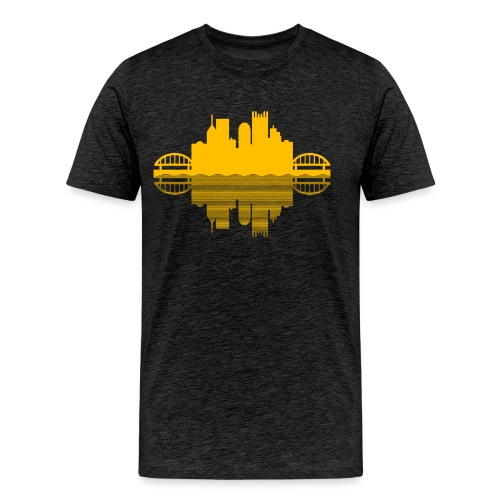 Pittsburgh Skyline Reflection (Gold) - Men's Premium T-Shirt