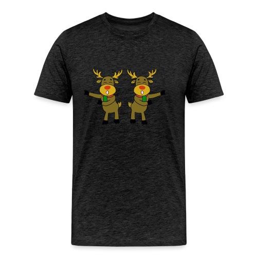 reindeer floss backback dance - Men's Premium T-Shirt