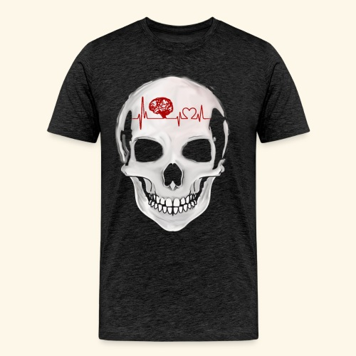 heart beating skull - Men's Premium T-Shirt