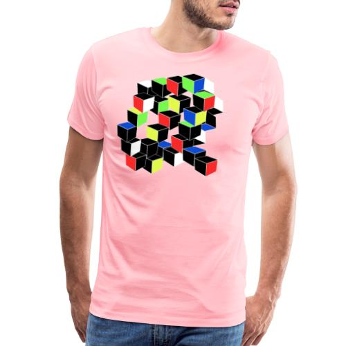 Optical Illusion Shirt - Cubes in 6 colors- Cubist - Men's Premium T-Shirt