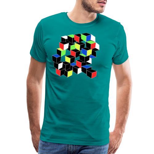 Optical Illusion Shirt - Cubes in 6 colors- Cubist - Men's Premium T-Shirt