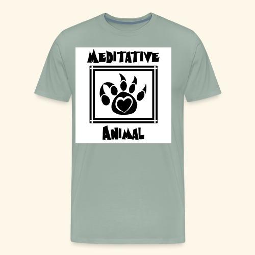 B&W Meditative Animal Paw - Men's Premium T-Shirt