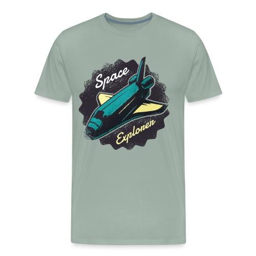 Space Explorer, Cool Grunge Space Shuttle - Men's Premium T-Shirt