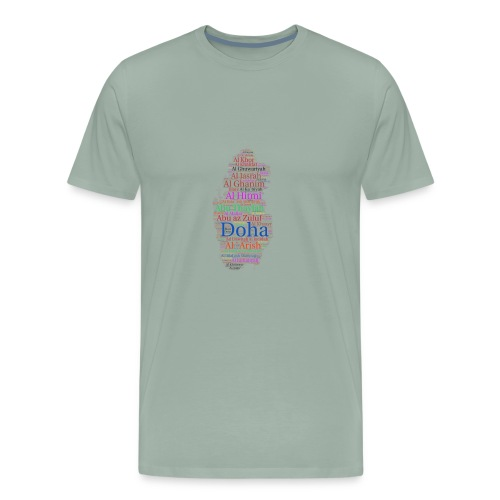 QATAR MAP + NAME OF CITIES (ENGLISH) - Men's Premium T-Shirt