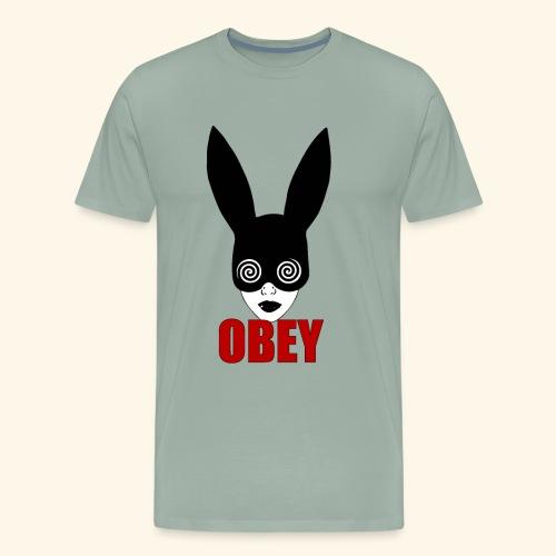 Black fetish bunny, OBEY, hypnotizing rat race - Men's Premium T-Shirt
