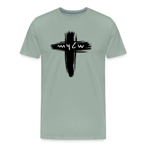 Shalom Ancient Hebrew Text with a Cross - Men's Premium T-Shirt