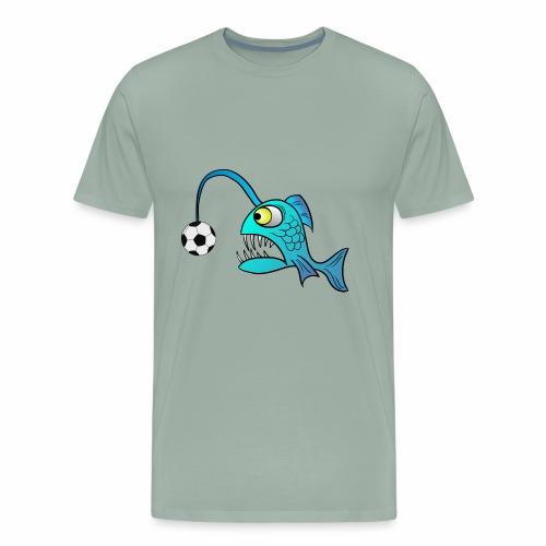 funny Lantern Fish with Soccer ball - Men's Premium T-Shirt