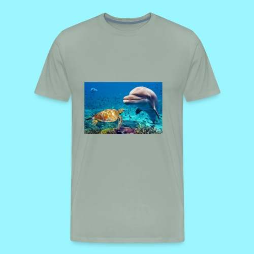 beautiful turtle, dolphin ocean design - Men's Premium T-Shirt