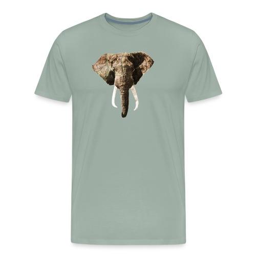 Elephant Geographic Head Illustration - Men's Premium T-Shirt