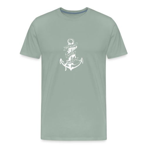 Sailor Anchor Reckless And Brave Funny Logo - Men's Premium T-Shirt