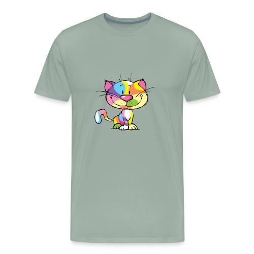 Cute Kitty Cartoon Colorful Pop Art Design - Men's Premium T-Shirt
