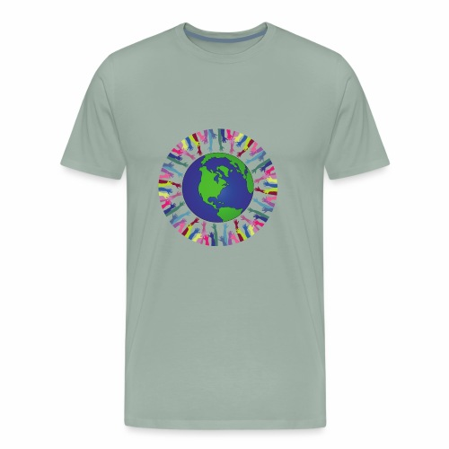 Geometric Art/Human Abstract/Earth Globe - Men's Premium T-Shirt