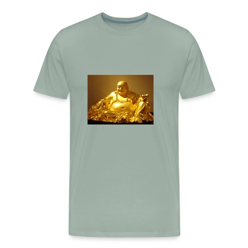 Laughing Buddha Gold Statue - Men's Premium T-Shirt