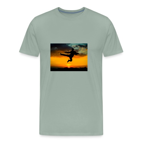 flying kick 1000x750 - Men's Premium T-Shirt