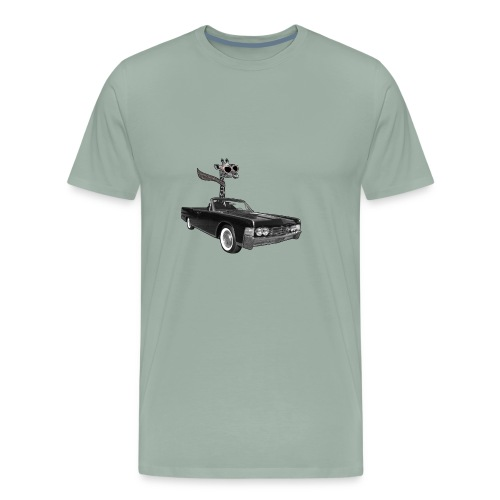 Retro Vintage Giraffe Car Road-Trip - Men's Premium T-Shirt
