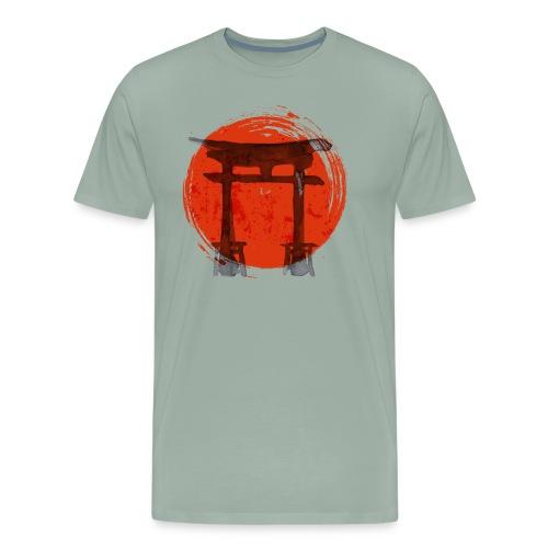Premium Japanese Artistic Temple Watercolor Shirt - Men's Premium T-Shirt